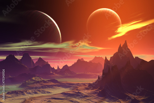 Papiers peints Rouge mauve 3D rendered fantasy alien planet. Rocks and moon