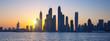 Panoramic view of Dubai at sunrise
