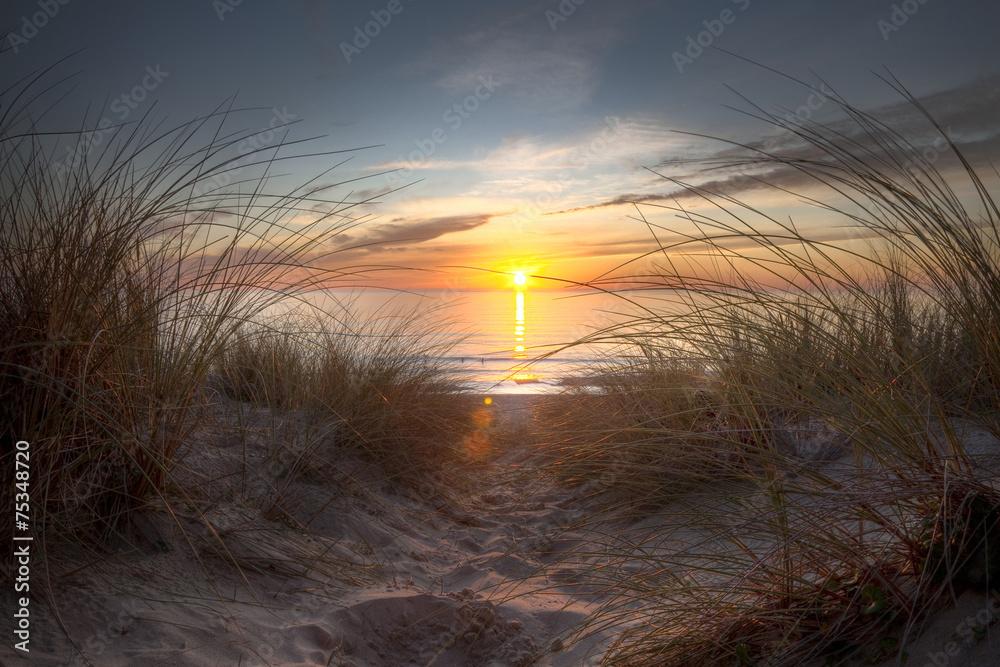 Fototapeta Coucher de soleil sur l'océan atlantique