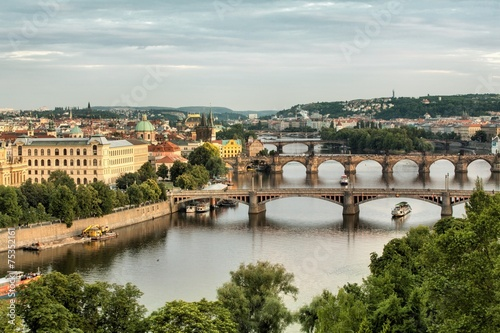 Aluminium Prints Prague Vltava and bridges in Prague, Czech Republic