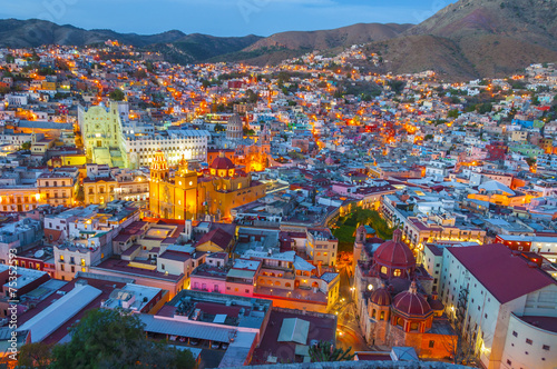 Photo sur Aluminium Mexique Guanajuato at night (Mexico)