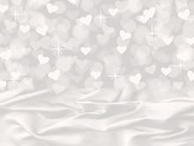 White Satin And Heart Bokeh Valentine's Background