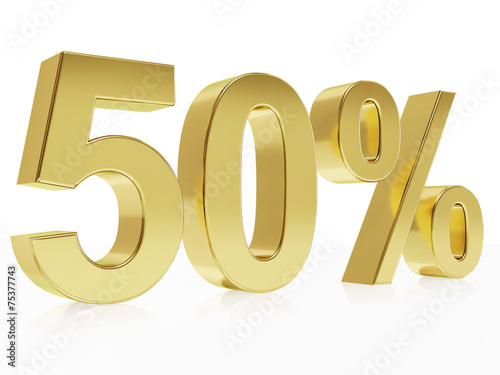 Photorealistic golden rendering of a symbol for 50 % discount