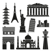 Landmark Icons Set Great For Any Use. Vector EPS10.