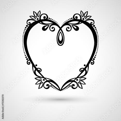 Keuken foto achterwand Vogels in kooien Vector Deco Floral Heart on Gray Background. Design element
