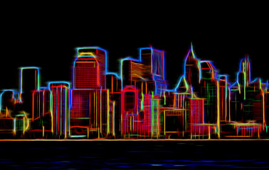 Fototapeta Manhattan sklyline glowing neon