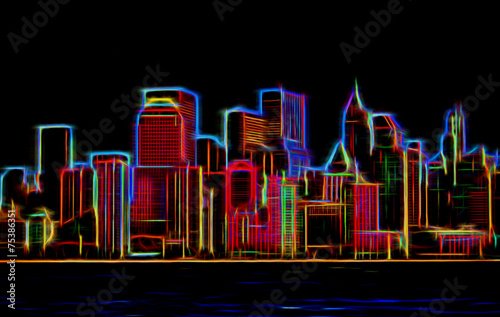 Manhattan sklyline glowing neon - 75386351
