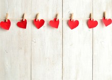 Red Heart Paper Cut Out With Clothes Pin