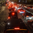 Evening traffic, London city lights