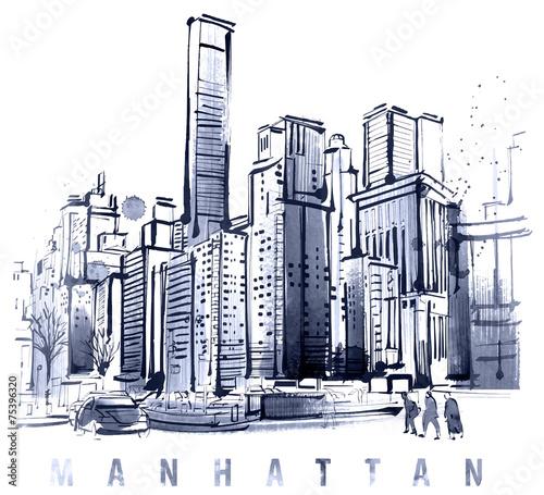 duze-miasto-z-drapaczami-chmur-panorama-manhattanu-grafika-wektorowa
