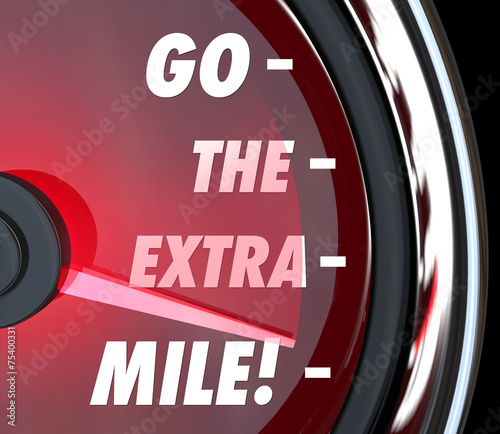 Photo  Go the Extra Mile Speedometer Words Further Extended Driving Eff