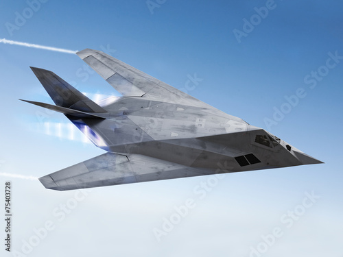 Photo  Stealth aircraft streaking through the sky