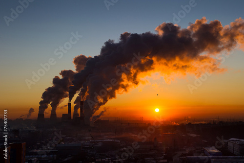 Power plant pipes with smoke. Environmental pollution. Poster