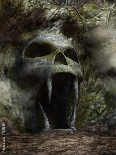 Leinwand Poster Wejście do jaskini w kształcie czaszki