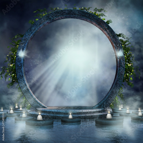 Photo  Magiczny portal ze świecami na wodzie