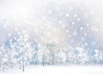 FototapetaVector of winter scene with forest background.