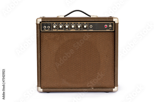 Fotografia Brown electric guitar amplifier isolated on white background