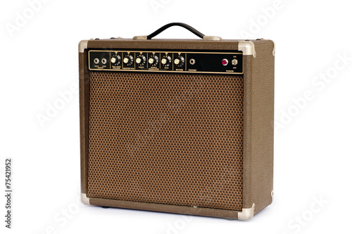 Brown electric guitar amplifier isolated on white background Fotobehang
