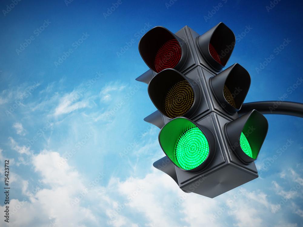 Fototapety, obrazy: Green traffic light