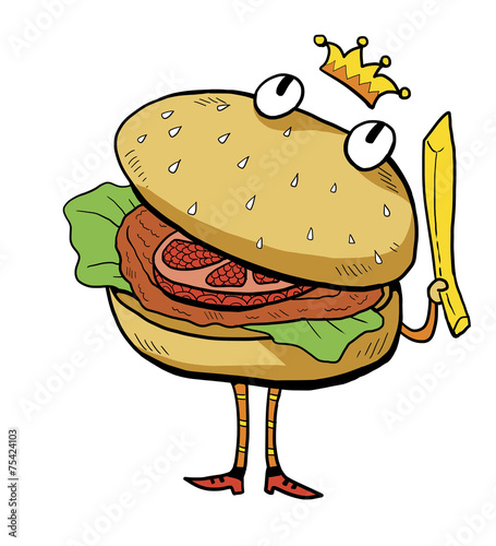 burger, hamburger king cartoon illustration