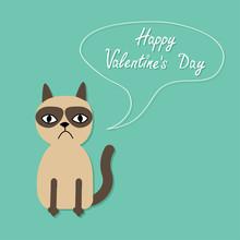 Grumpy Siamese Cat Speech Bubble Flat  Happy Valentines Day Card