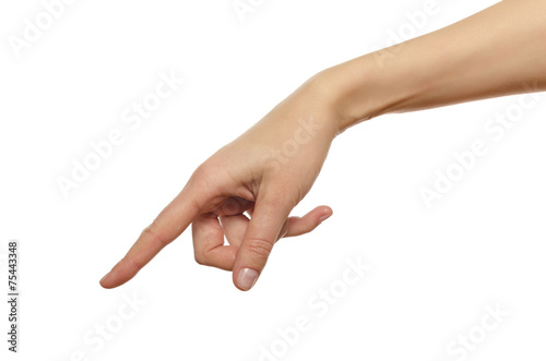 Foto  Hand in the gesture of touching, pushing, indicating