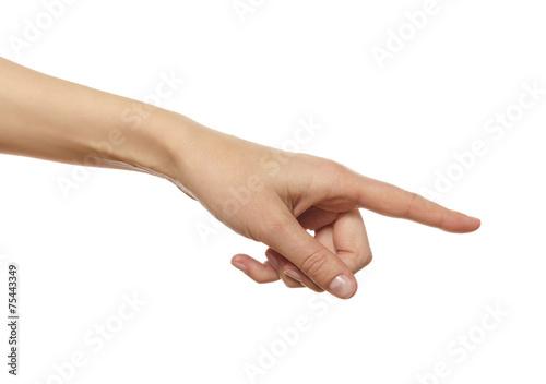 Foto  Hand in der Geste der Berührung, Druck, was darauf hinweist