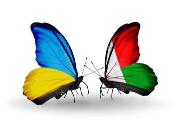 Two butterflies with flags Ukraine and Madagascar