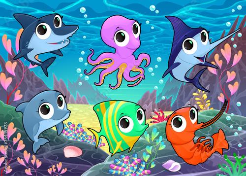 Canvas Prints Fairytale World Funny marine animals in the sea