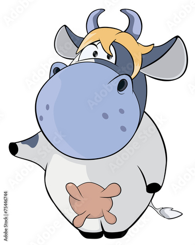 A small cow. Cartoon Poster