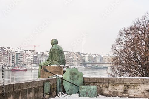 Valokuva  Basel, Altstadt, Basler Rheinufer, Helvetia, Winter, Schweiz