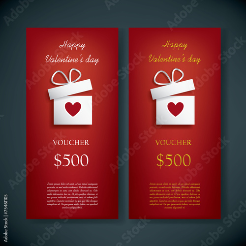 Valentine S Day Gift Card Voucher Template With Traditional Buy
