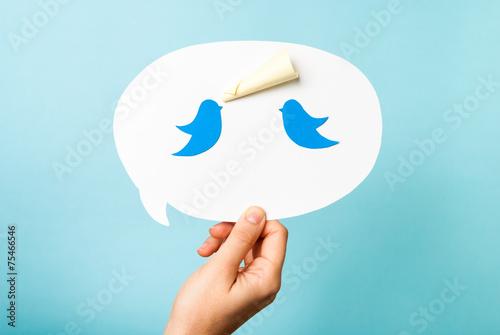 Obraz Two blue bird, dove, pigeon on speech bubble. - fototapety do salonu