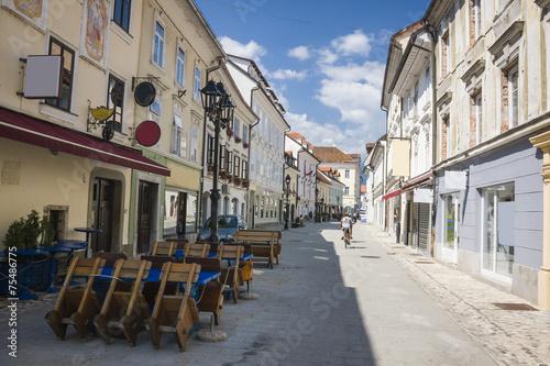 Staande foto Madrid Main street in Kranj, Slovenia