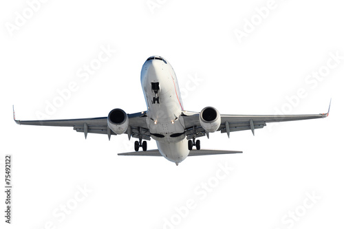 Fotografia  White plane with landing gear