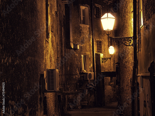 Dark narrow street in Zagreb, Croatia