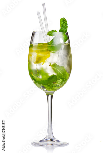 Alcohol cocktail (Hugo) with lime and mint isolated #75498917