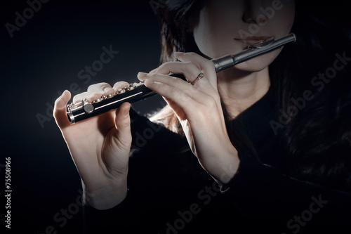 Fotografie, Obraz  Flute piccolo with hands closeup