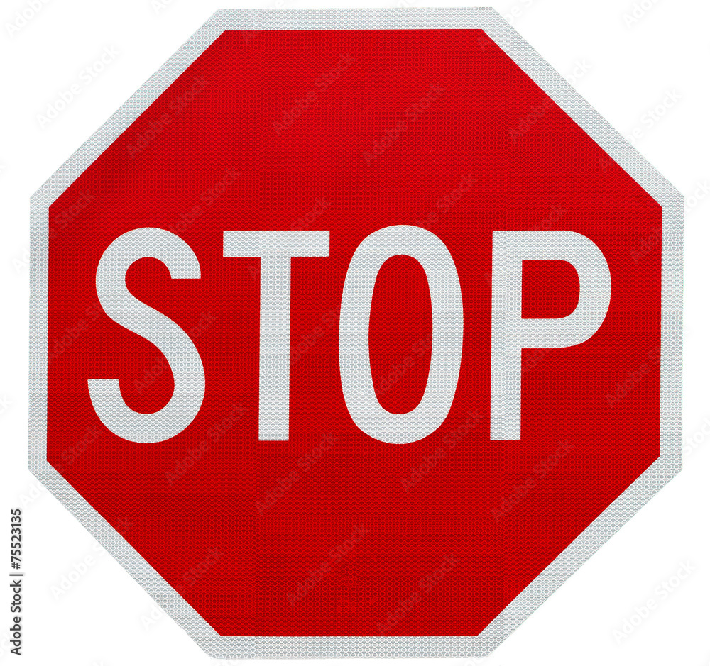 Fototapety, obrazy: Stop sign isolated on white