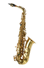 Alto Sax Golden Saxophone Isolated On White Background.