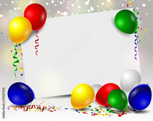 Obraz vector birthday with balloons and blank sign - fototapety do salonu