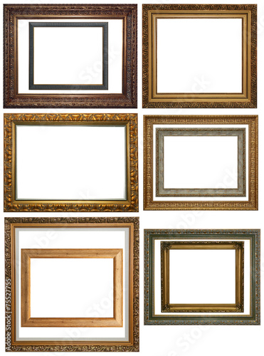Set Of Vintage Gold Picture Frame Isolated With Clipping Path Buy