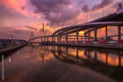 Keuken foto achterwand San Francisco Bhumibol Bridge in Thailand