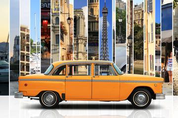 Fototapeta na wymiar Taxi, retro car orange color on the white background