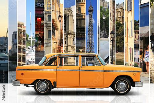 Fototapeta Taxi, retro car orange color on the white background