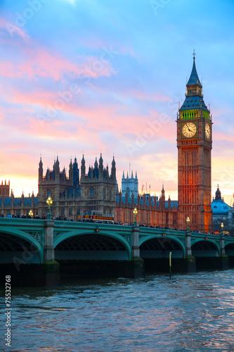 Garden Poster London London. Big Ben clock tower.