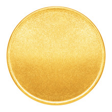 Blank Template For Gold Coin Or Medal With Metal Texture