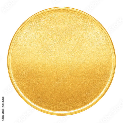Fototapeta Blank template for gold coin or medal with metal texture obraz