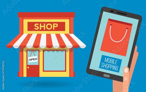 Mobile shopping apps on tablet, vector illustration - Buy