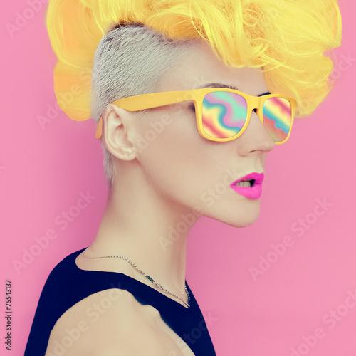 Photo  Vanilla disco punk style. glamorous lady party